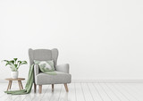 Fototapety Simple urban jungle style interior with grey armchair, green plaid, tropical pattern pillow and plant on white wall background. 3D rendering.