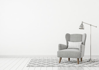 Neutral classic livingroom interior with grey fabric armchair, pillow, lamp and nordic style rug on empty white wall background. 3D rendering.