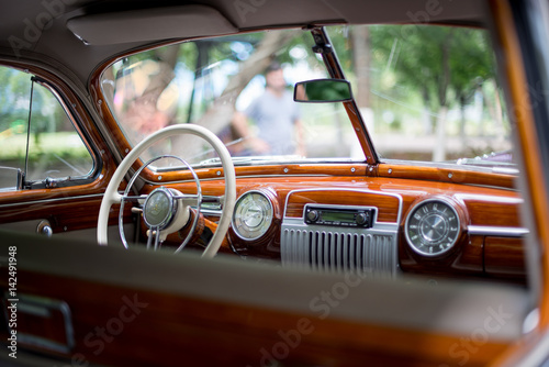 Retro car, retro torpedo car, vintage steering wheel Poster