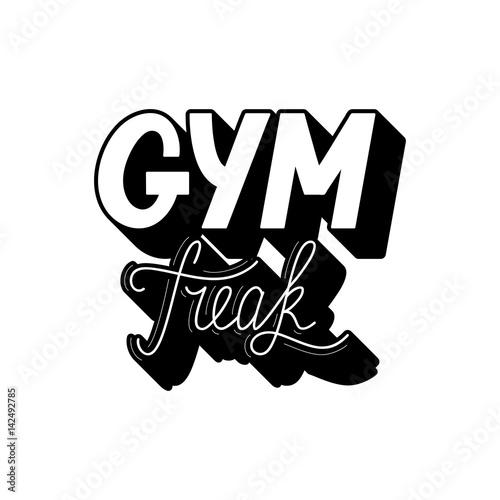 Plakát Hand drawn retro lettering Gym Freak
