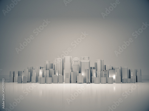 Abstract city for background,dark city,night city. 3D rendering - 142501933