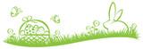 Osterhase und Osternest mit Ostereiern auf Gras - 142512717