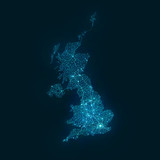 Abstract Telecommunication Network Map - United Kingdom - 142529713