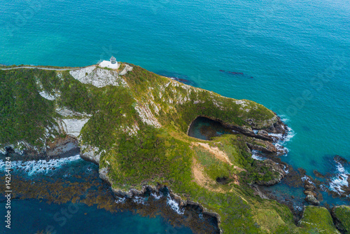 Aerial view of Nugget Point Lighthouse, Otago, New Zealand Poster