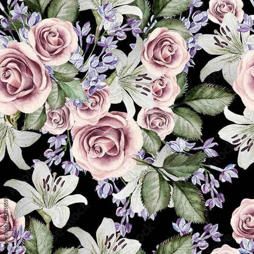 Bright watercolor seamless pattern with flowers lilies, roses and lilacs. illustrations - 142550559