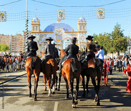 On horseback at the fair, Feast in Spain