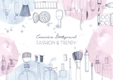 Fototapety Fashion cosmetics horizontal background with make up artist objects and watercolor spots. Vector hand drawn illustration with place for text.