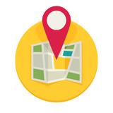 Location map flat design vector icon - 142565524