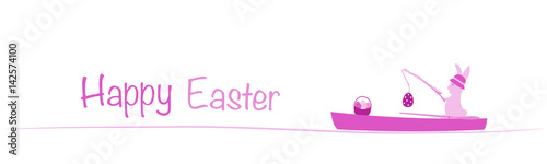 Happy Easter. Rabbit in a boat with fishing rod and eggs. Pink shade. - 142574100