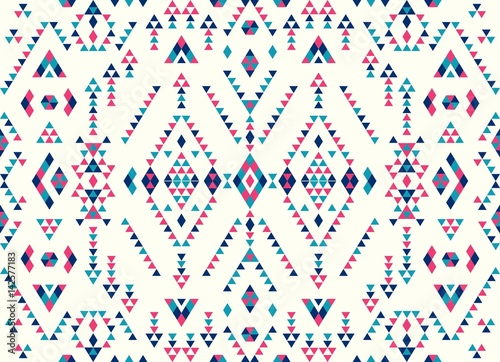 Seamless Ethnic pattern textures. Pink & Navy colors. Navajo geometric print. Rustic decorative ornament. Abstract geometric pattern. Native American pattern. Ornament for the design of clothing - 142577183