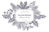 Vector card design with hand drawn blossoming trees. Floral wedding invitation template. Vintage flower illustration - 142578118