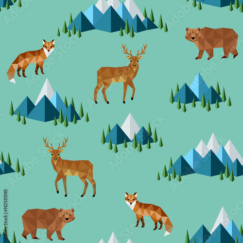 Cotton fabric wild animals and mountains