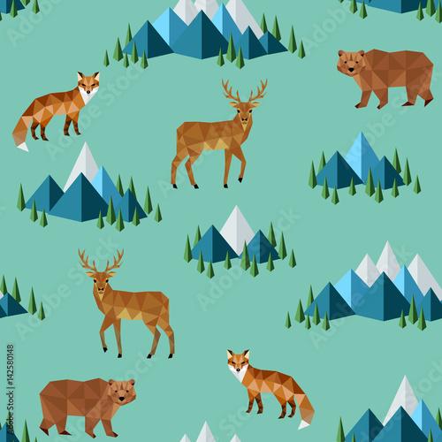 Materiał do szycia dzikie zwierzęta i góry