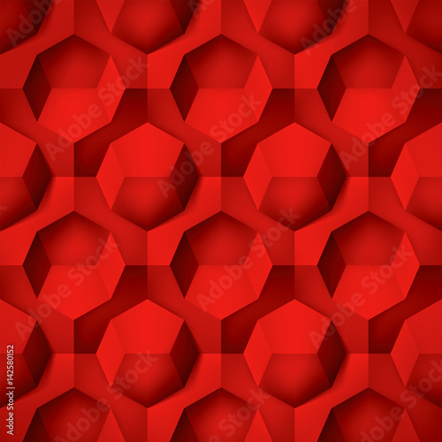 Fototapeta Volume realistic texture, octahedron, red 3d geometric pattern, design vector background