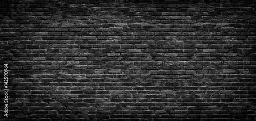 Black brick wall texture, brick surface as background - 142590964