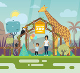 Outdoor view on zoo entrance with animals