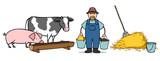 Bauer auf Bauernhof füttert Tiere - 142598186