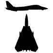 Military Swept-wing Fighter Jet Aircraft Silhouette Vector Illustration