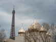 The Eiffel Tower and the Russian Orthodox Cathedral, Sainte-Trinite in Paris, France