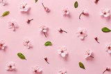 Flower blossom pattern on pink background. Top view - 142614582