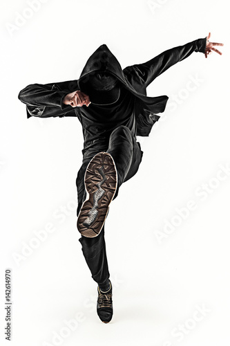The Silhouette Of One Hip Hop Male Break Dancer Dancing On White Background Poster