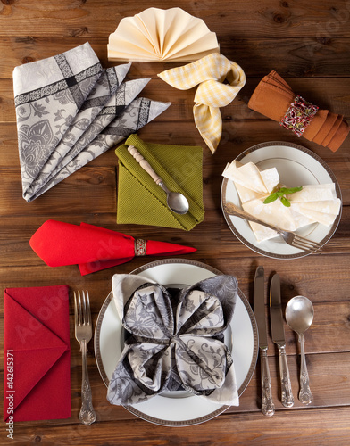 Plagát, Obraz Collection of napkin folding