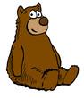 Color cartoon illustration of a brown teddy bear.