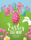 Easter Egg Hunt background with colorful eggs, tulips and daisies. EPS 10 vector.