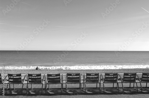 Spoed canvasdoek 2cm dik Nice chairs in Promenade des Angles, Nice, French Riviera,