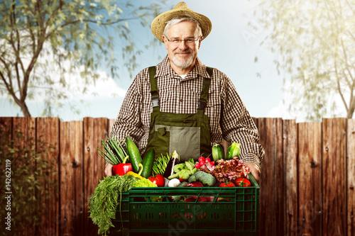Gärtner mit Obst und Gemüse