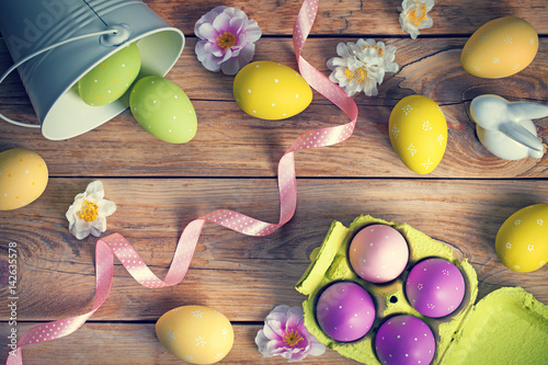 Easter Background with Easter Eggs - 142635578