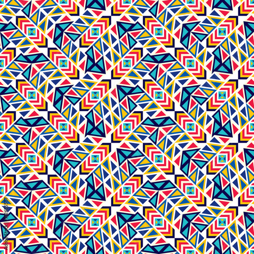 Cotton fabric Abstract seamless pattern of various geometric elements.