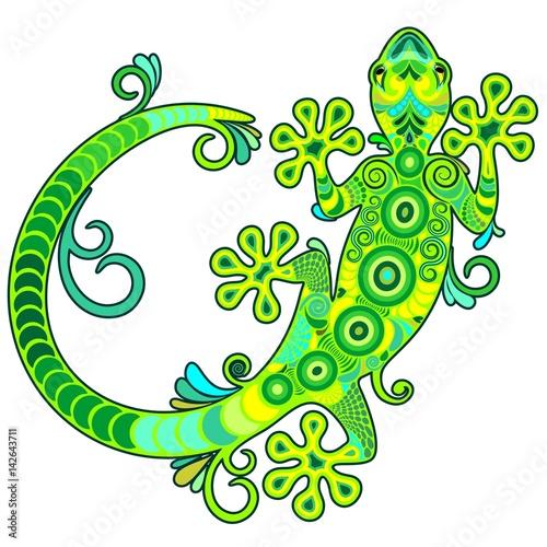 Gecko Lizard Ornamental Tattoo Style