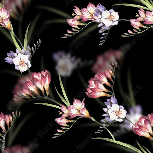 Seamless pattern with Freesia. Hand draw watercolor illustration. - 142645557