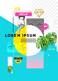 Glitch retro wave design with various design elements and room for copy text. - 142647186