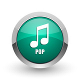Pop music silver metallic chrome web design green round internet icon with shadow on white background.