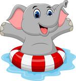 Cartoon Elephant  Inflatable Ring Wall Sticker