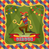 Circus card with the Harlequin