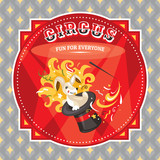 Circus card with a rabbit