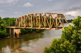 Rusty Old Railroad Bridge Over the Chattahoochee River - 142665788