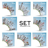 Fototapety Set of 8 Japanese Cities with Gray Buildings and Blue Sky.