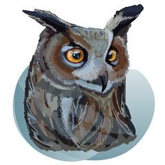 Beautiful realistic eagle-owl. Digital vector illustration. Imitation of traditional drawing.