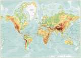 Physical World Map Retro Colors with labeling