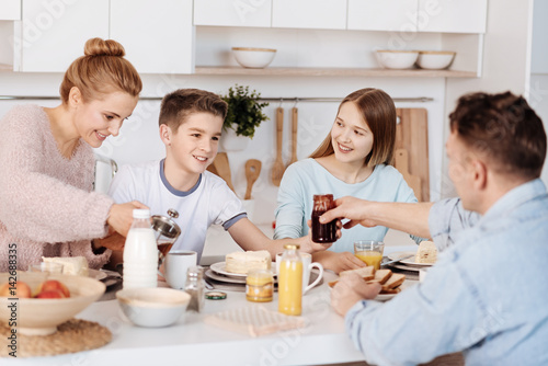 Pleasant positive family having morning meal together Poster