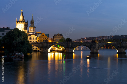Poster Prague cityscape at sunset