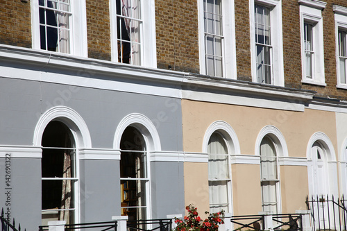 Modern stone facade on a sunny day Poster