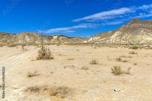 Desert landscape in Andalusia in southern Spain with a goat herd in the backgrou Poster