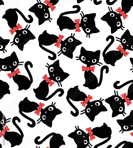 cat bow seamless vector pattern - 142699394