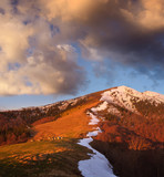 Spring landscape in the mountains with evening light