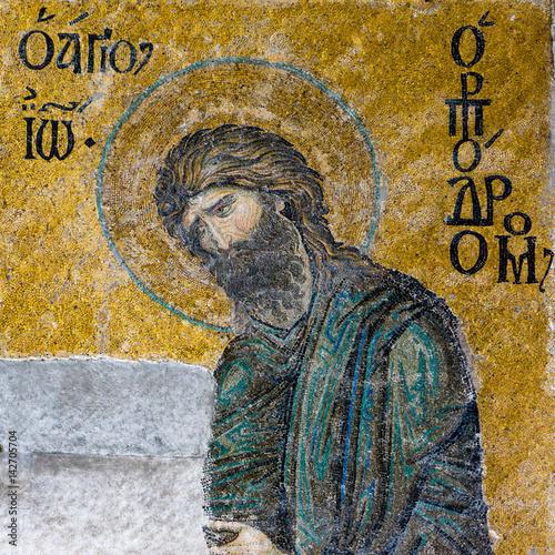 John the Baptist, a Byzantine mosaic in Hagia Sophia Istanbul, Turkey Poster